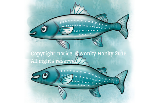 Mr & Mrs Sea Bass, characters from The Whale Party published ebook